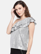 Load image into Gallery viewer, Women Silver-Toned Solid Top-2