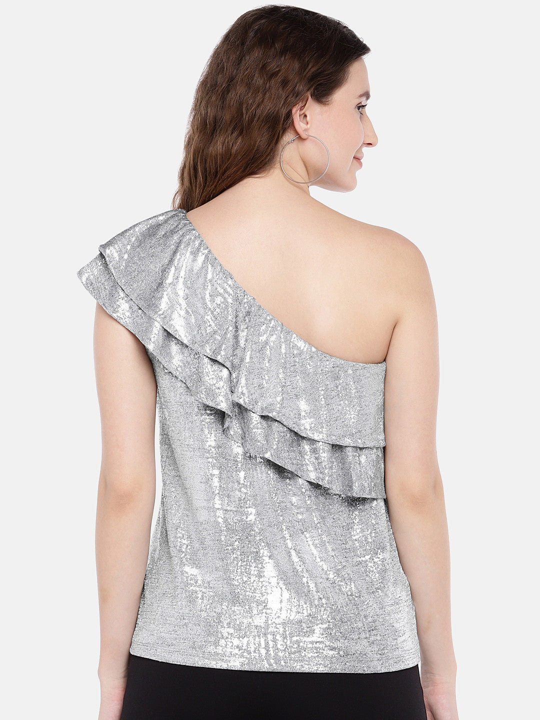 Women Silver-Toned Solid Top-3