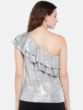 Load image into Gallery viewer, Women Silver-Toned Solid Top-3