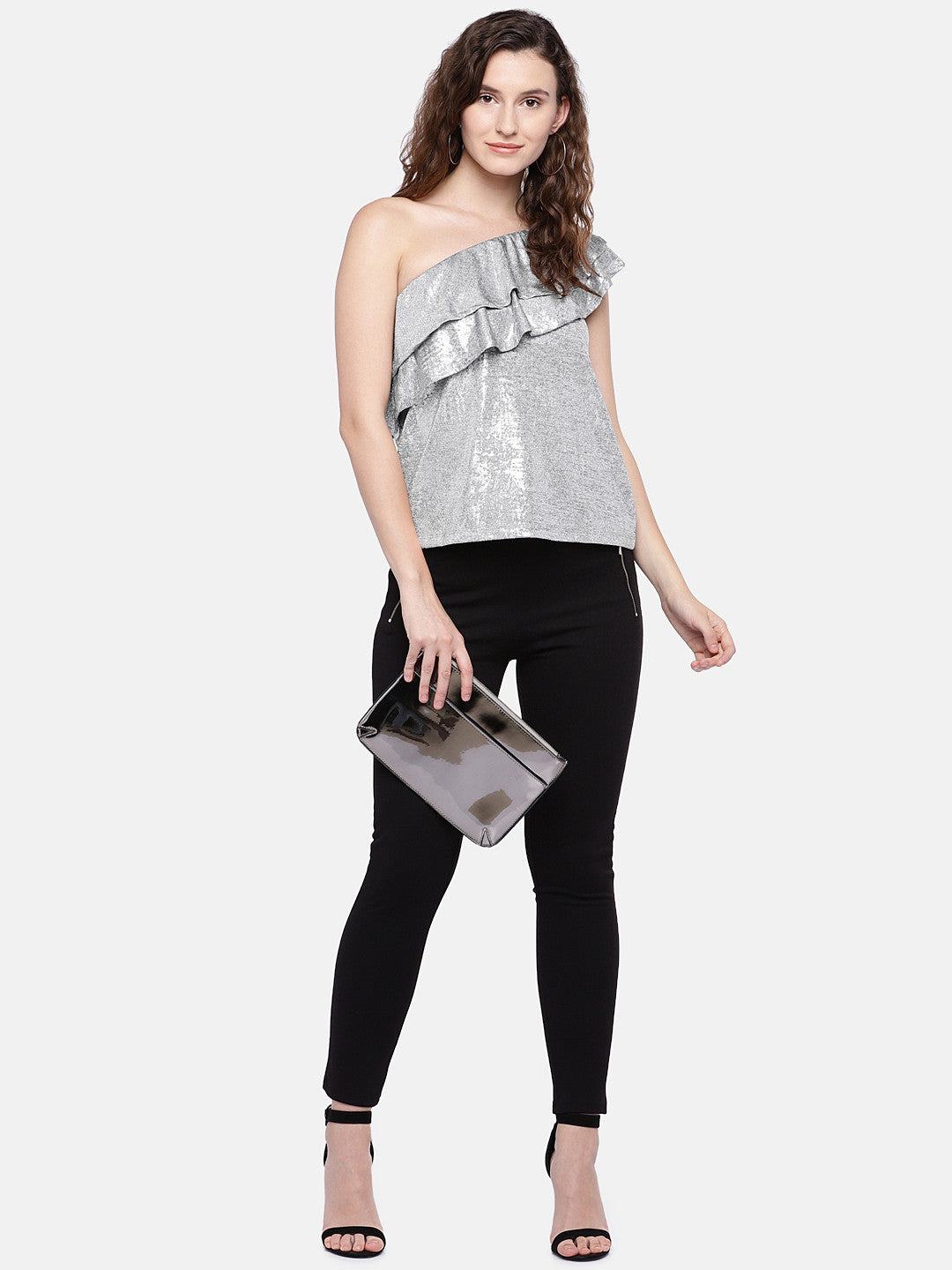 Women Silver-Toned Solid Top-4