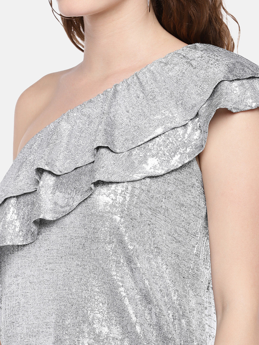 Women Silver-Toned Solid Top-5