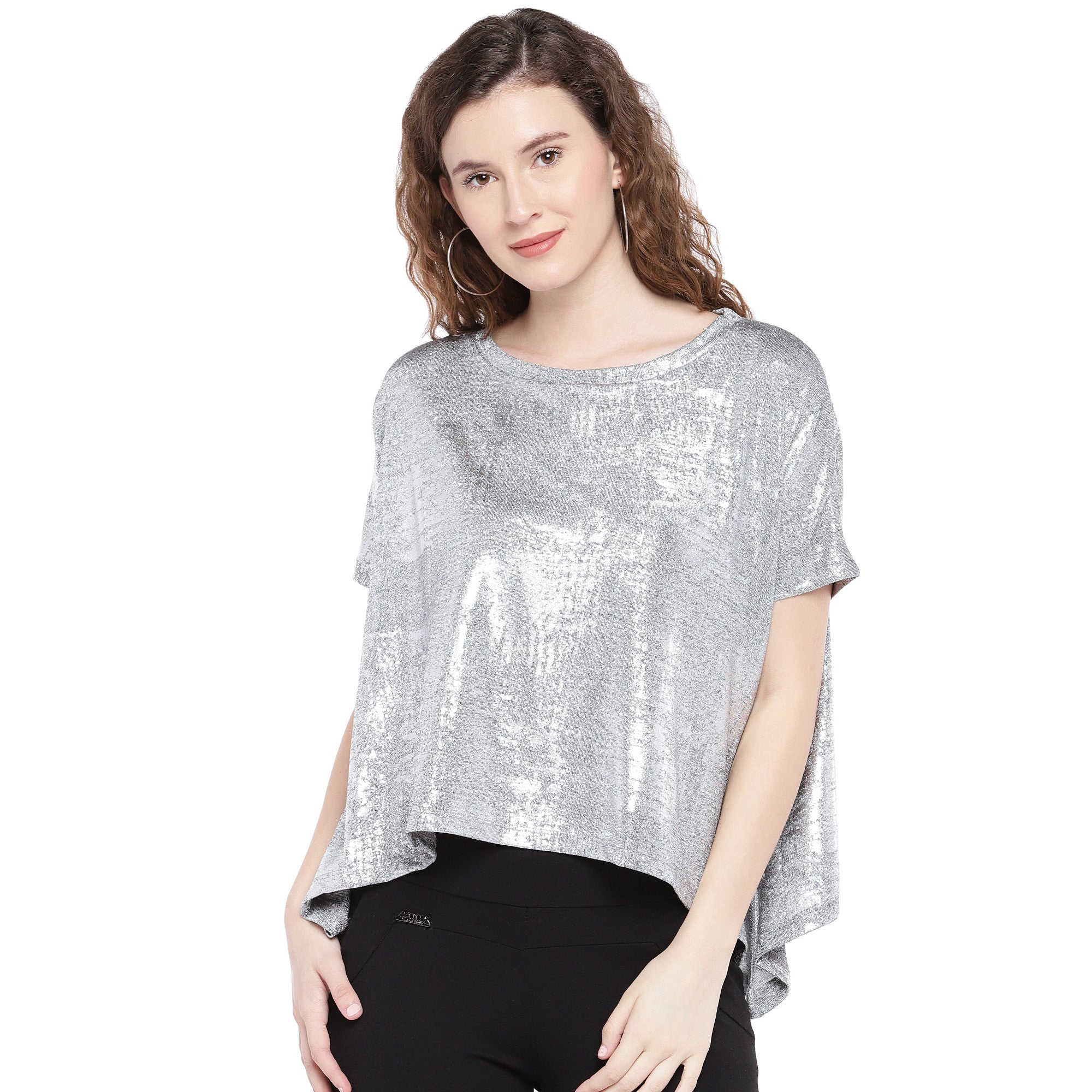 Silver-Toned Printed Boxy Top-1