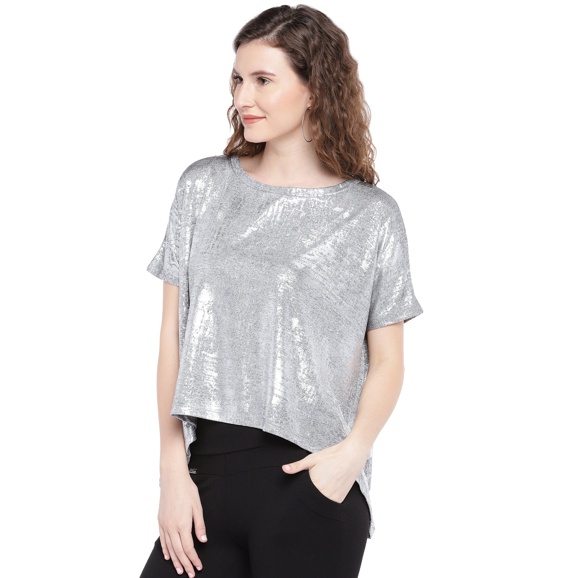 Silver-Toned Printed Boxy Top-2