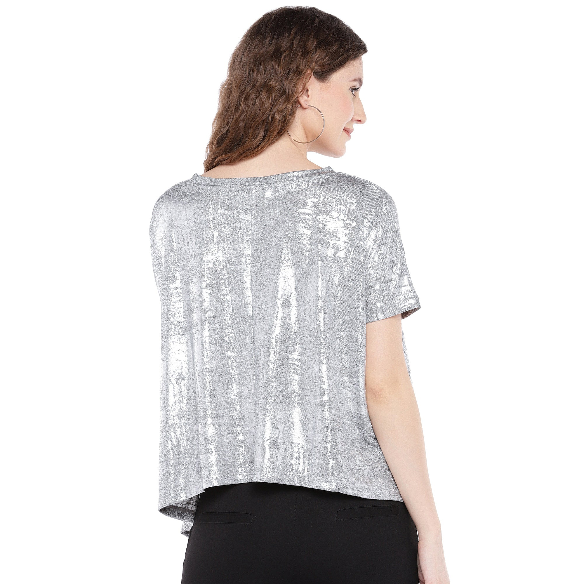 Silver-Toned Printed Boxy Top-3