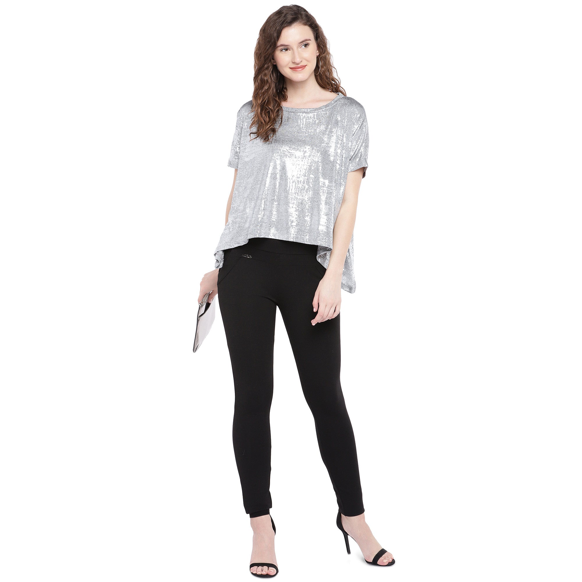 Silver-Toned Printed Boxy Top-4