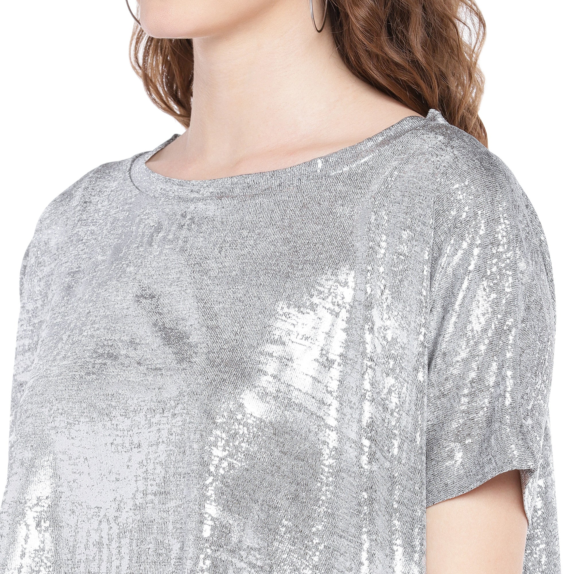 Silver-Toned Printed Boxy Top-5