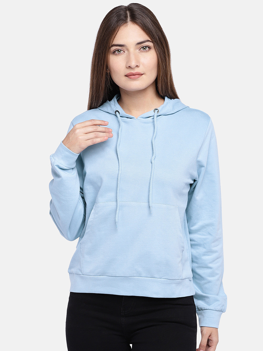 Blue Solid Hooded Sweatshirt-1