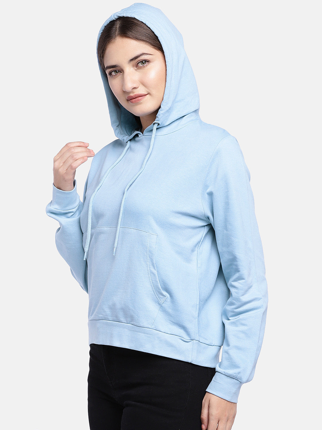 Blue Solid Hooded Sweatshirt-2