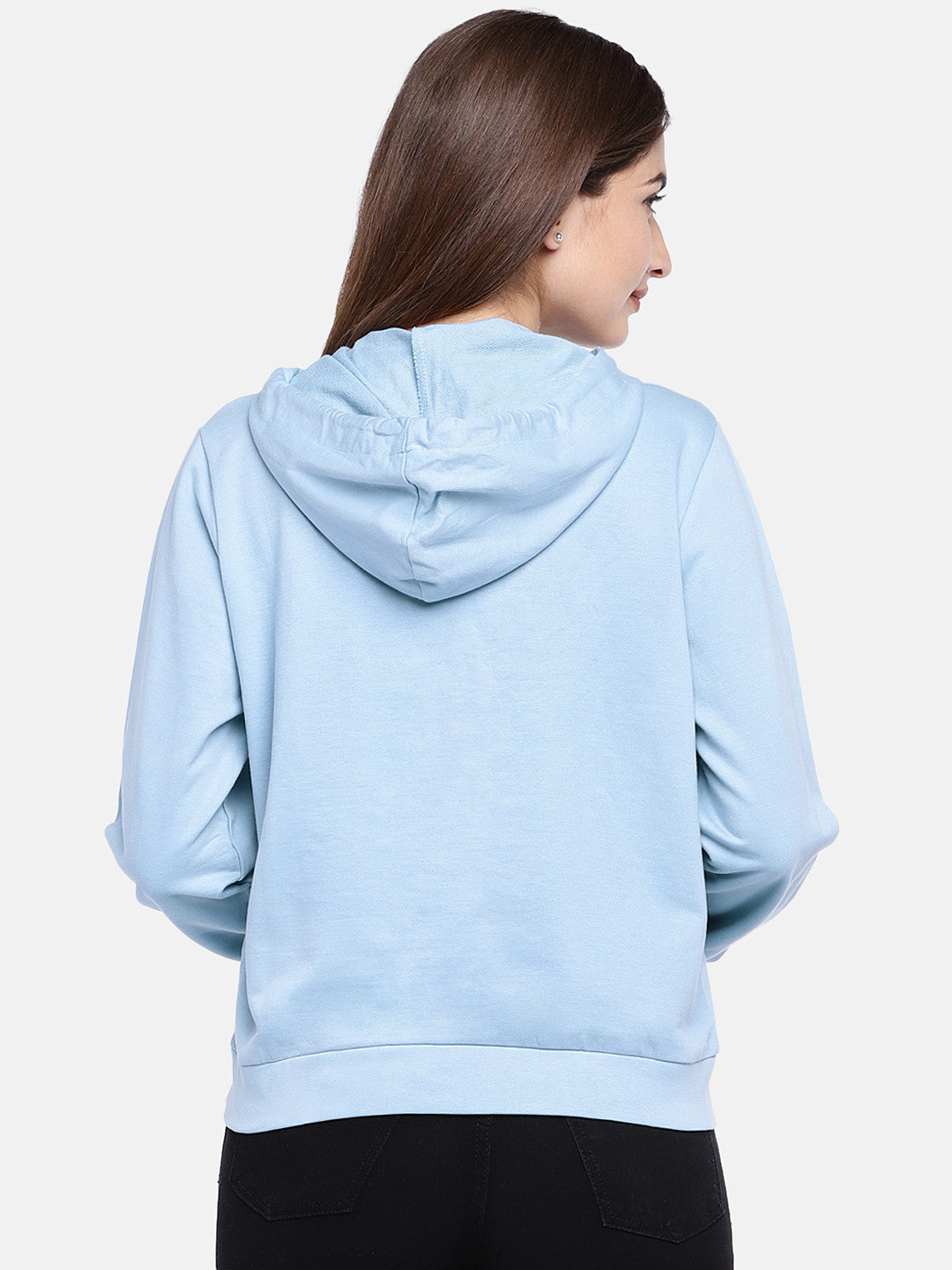 Blue Solid Hooded Sweatshirt-3