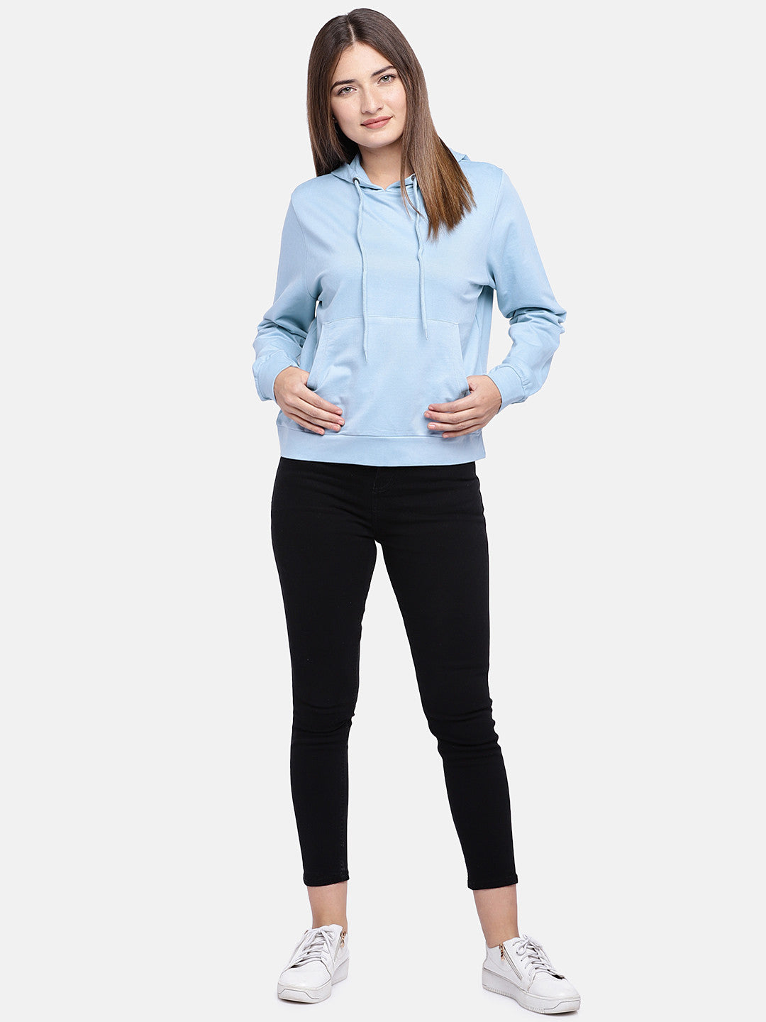 Blue Solid Hooded Sweatshirt-4