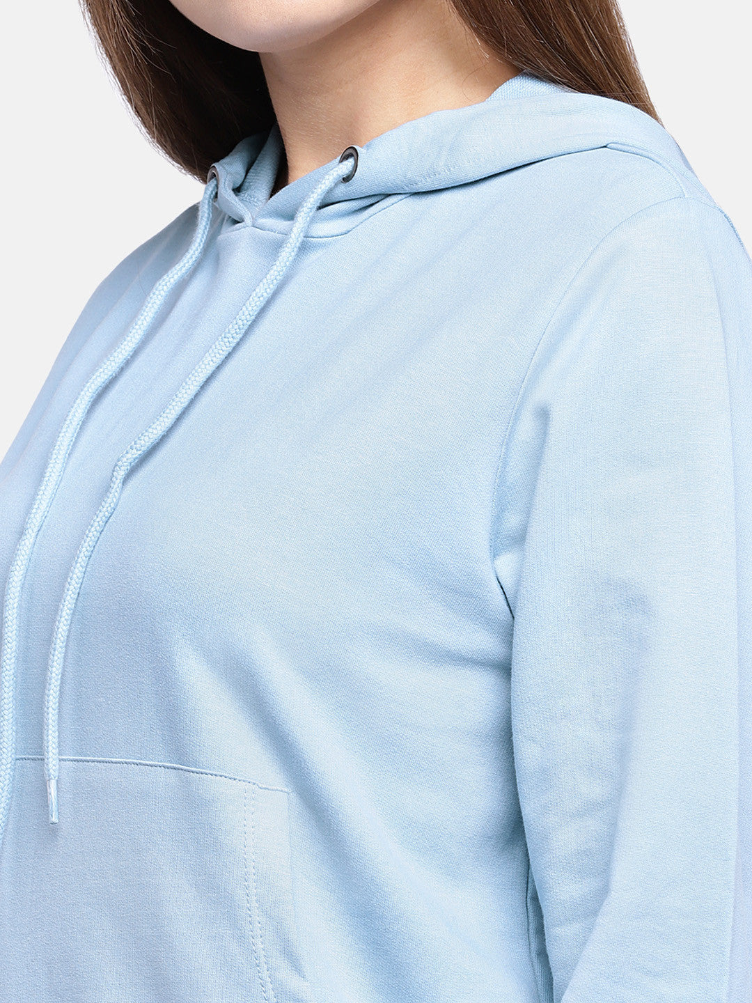 Blue Solid Hooded Sweatshirt-5