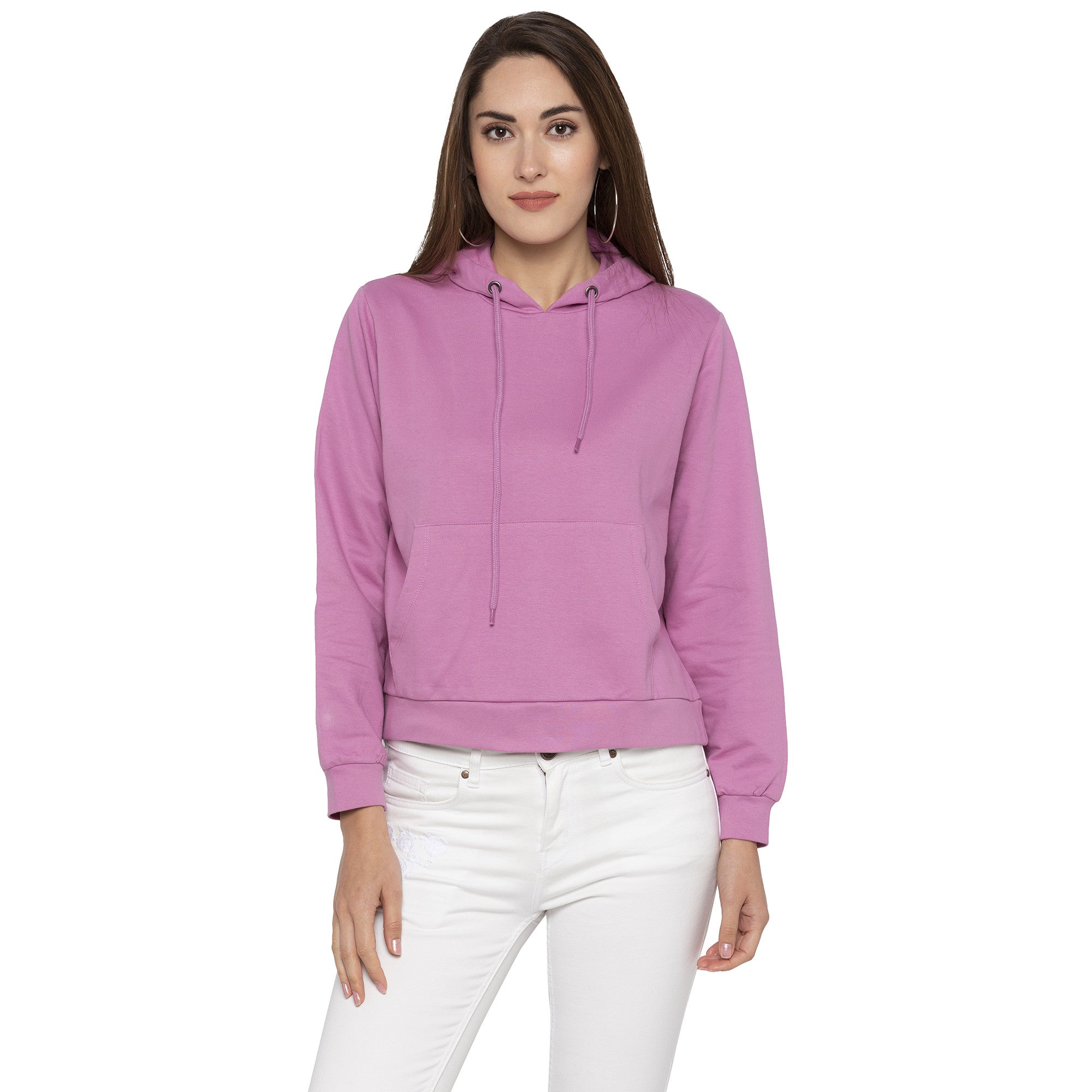 Casual Pink Color Solid Hooded Sweatshirt-1