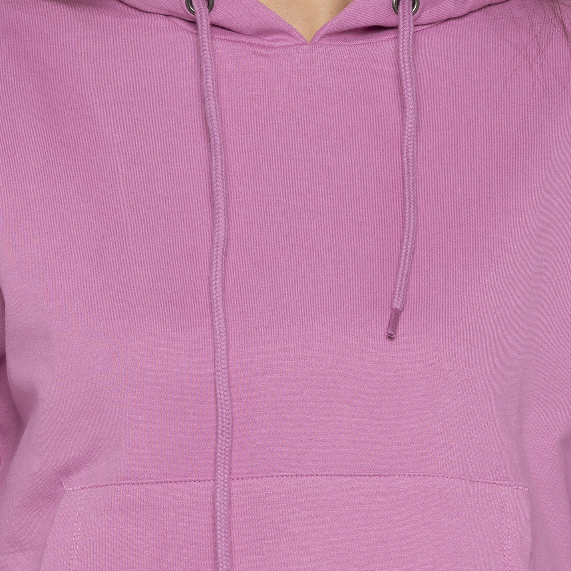 Casual Pink Color Solid Hooded Sweatshirt-5