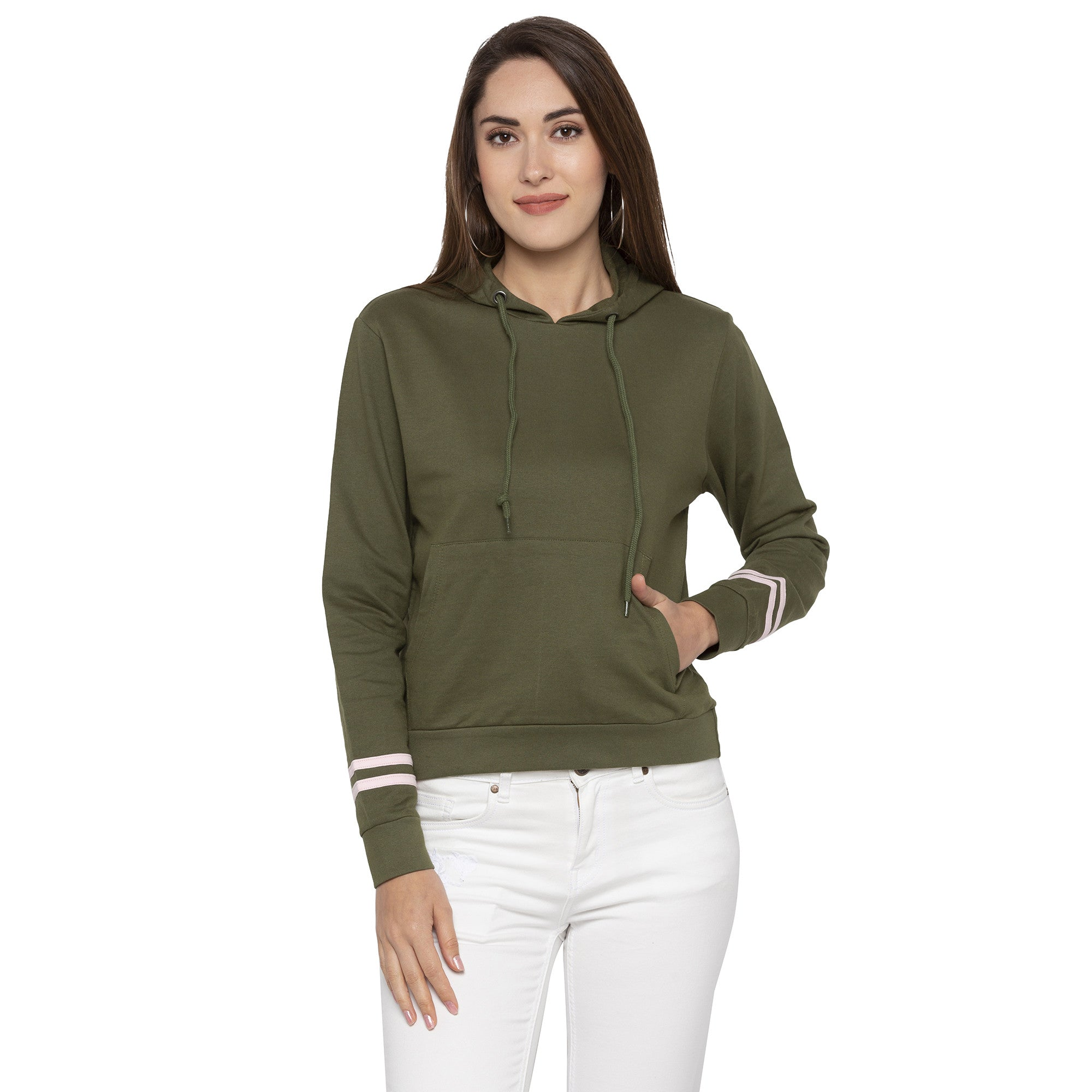 Casual Olive Color Solid Hooded Sweatshirt-1