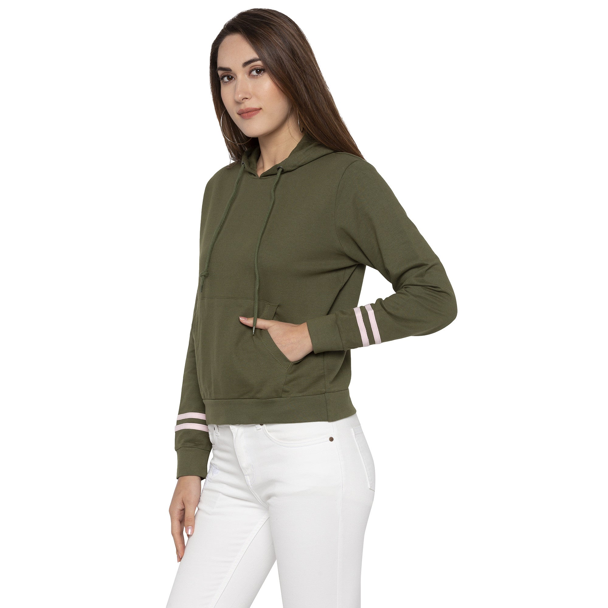 Casual Olive Color Solid Hooded Sweatshirt-2