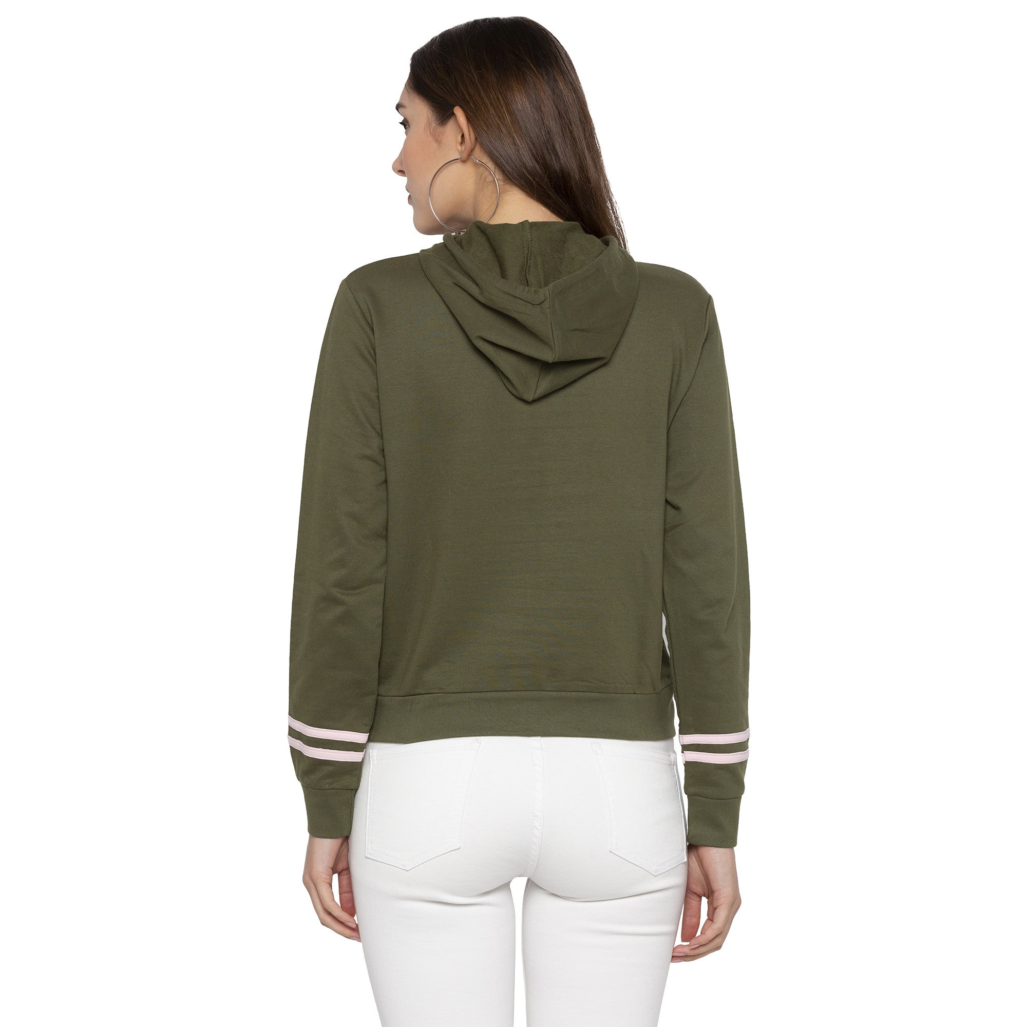 Casual Olive Color Solid Hooded Sweatshirt-3