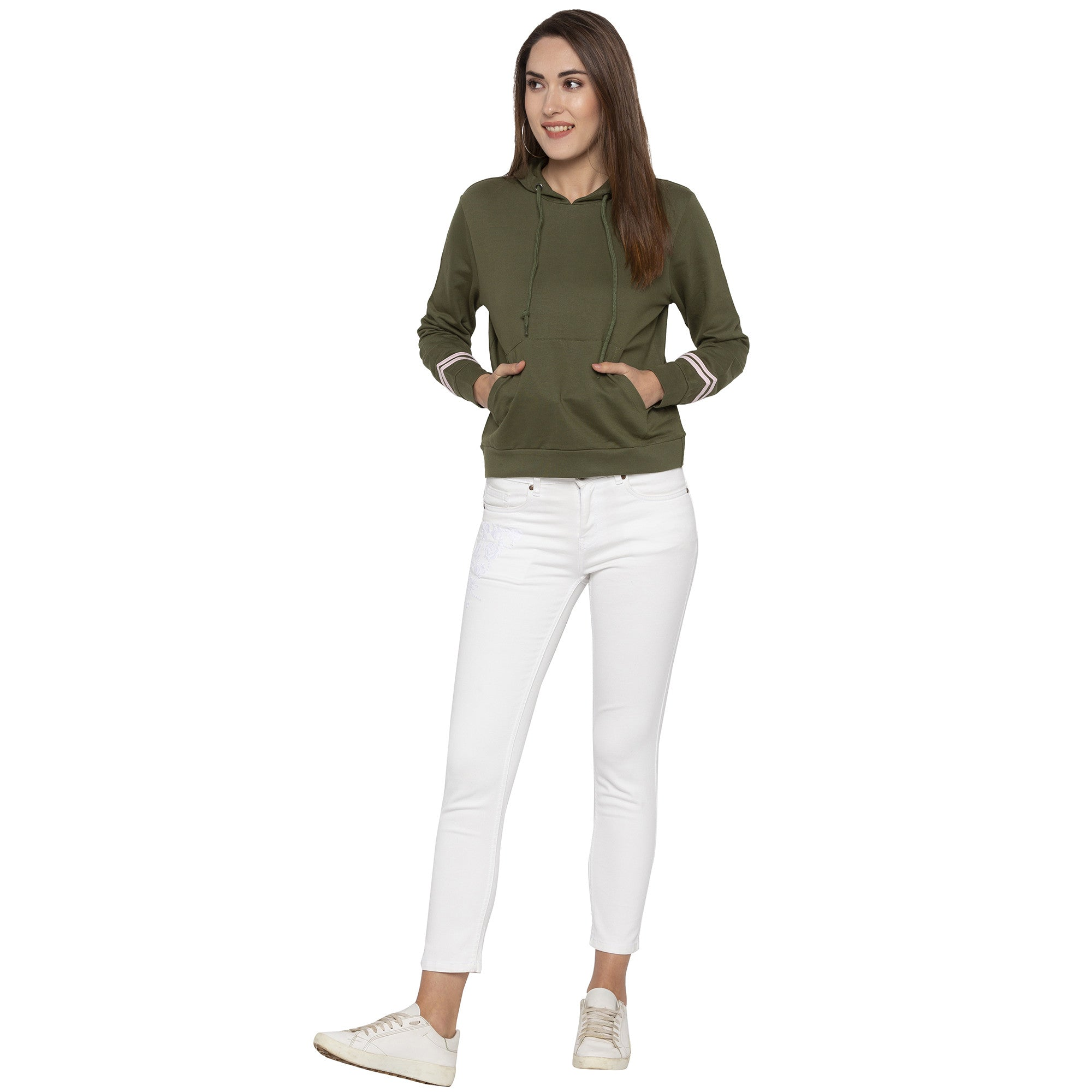 Casual Olive Color Solid Hooded Sweatshirt-4