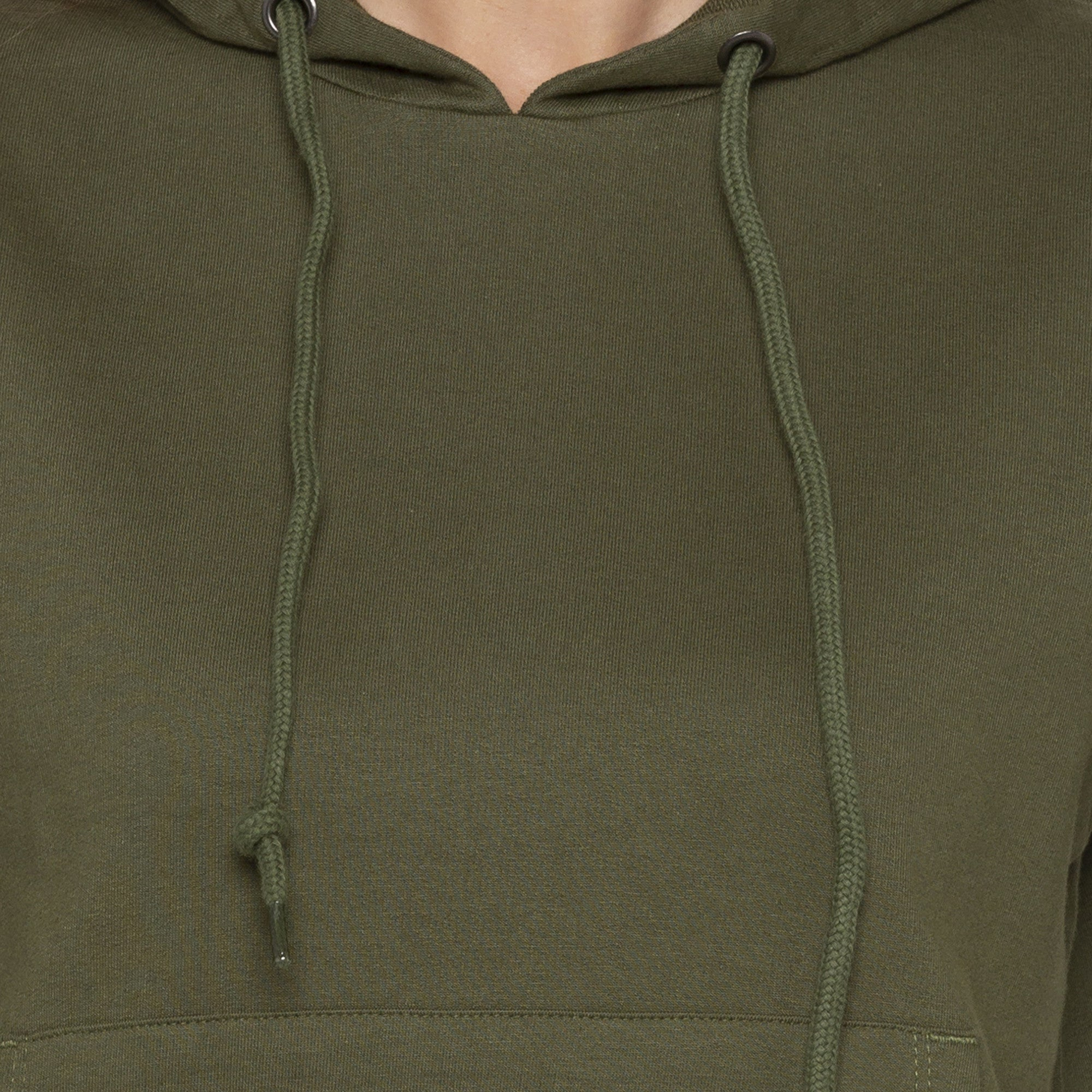 Casual Olive Color Solid Hooded Sweatshirt-5
