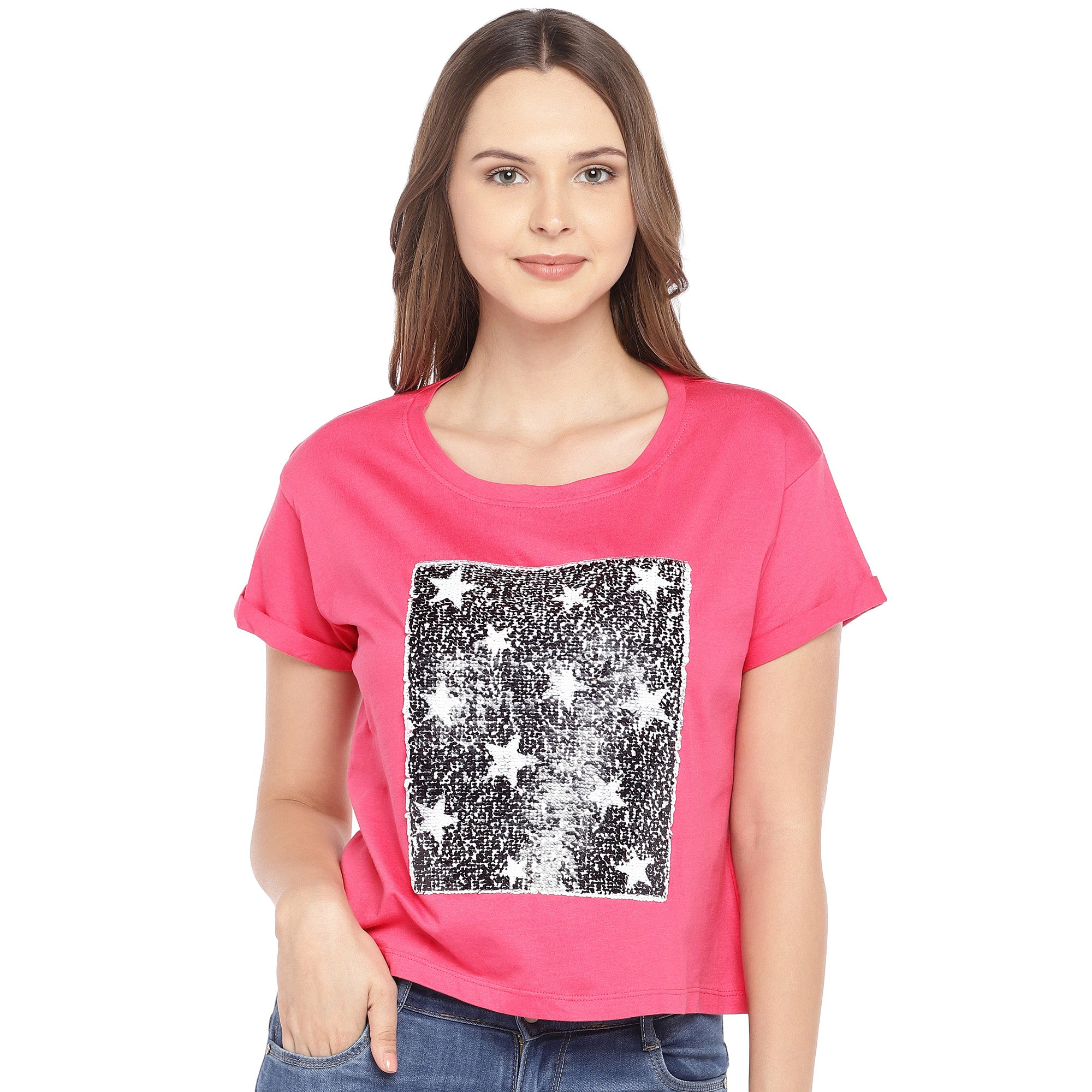 Pink Mermaid-Sequinned Top-1