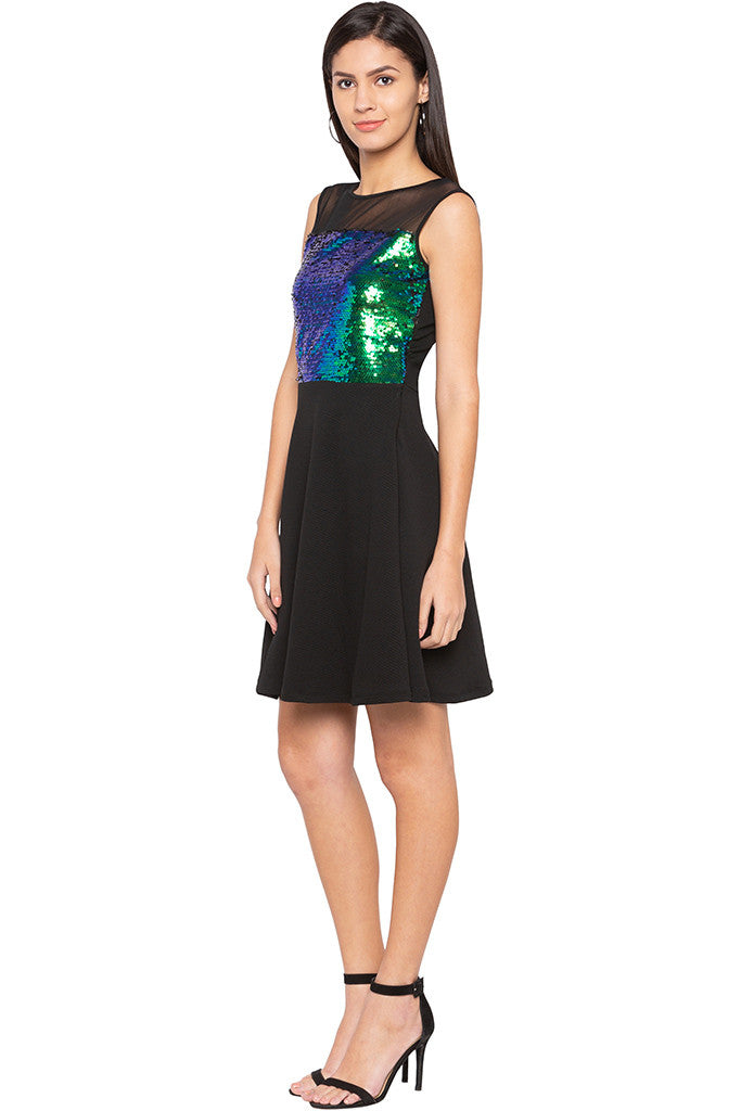 Mesh Yoke Sequined Dress-4