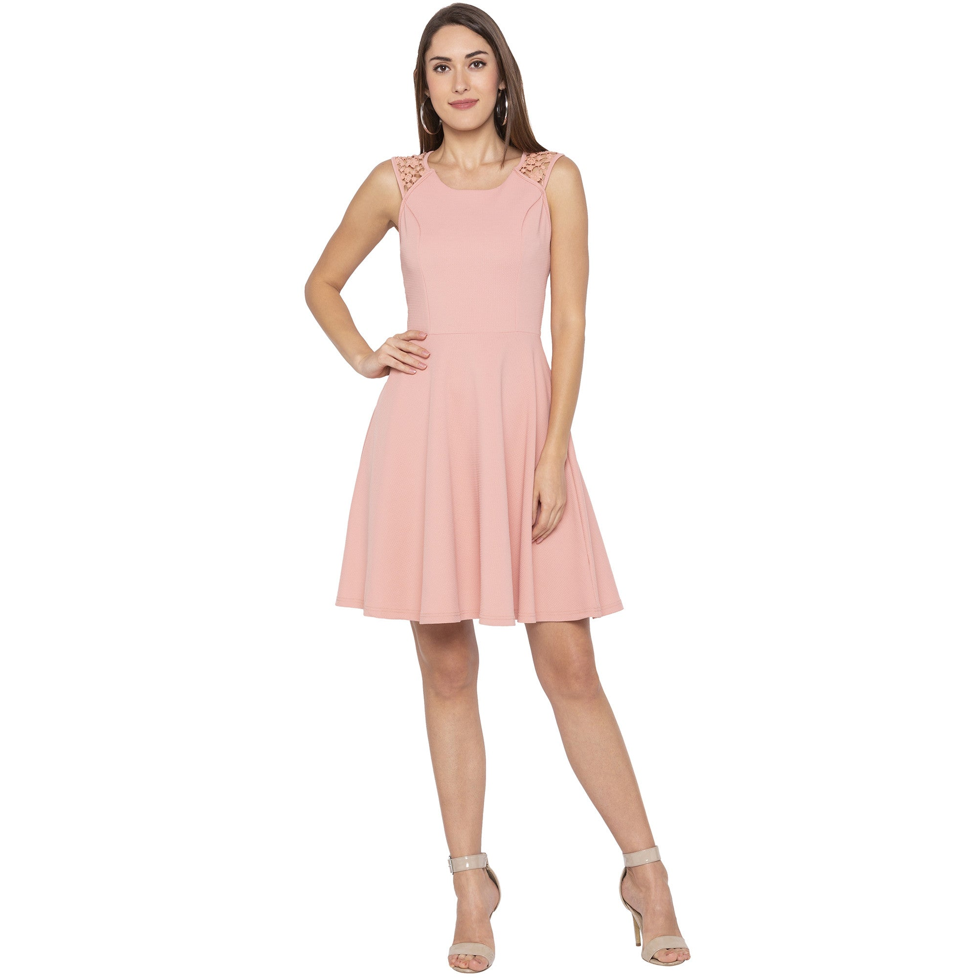 Casual Pink Color Solid Fit and Flare Dress-1