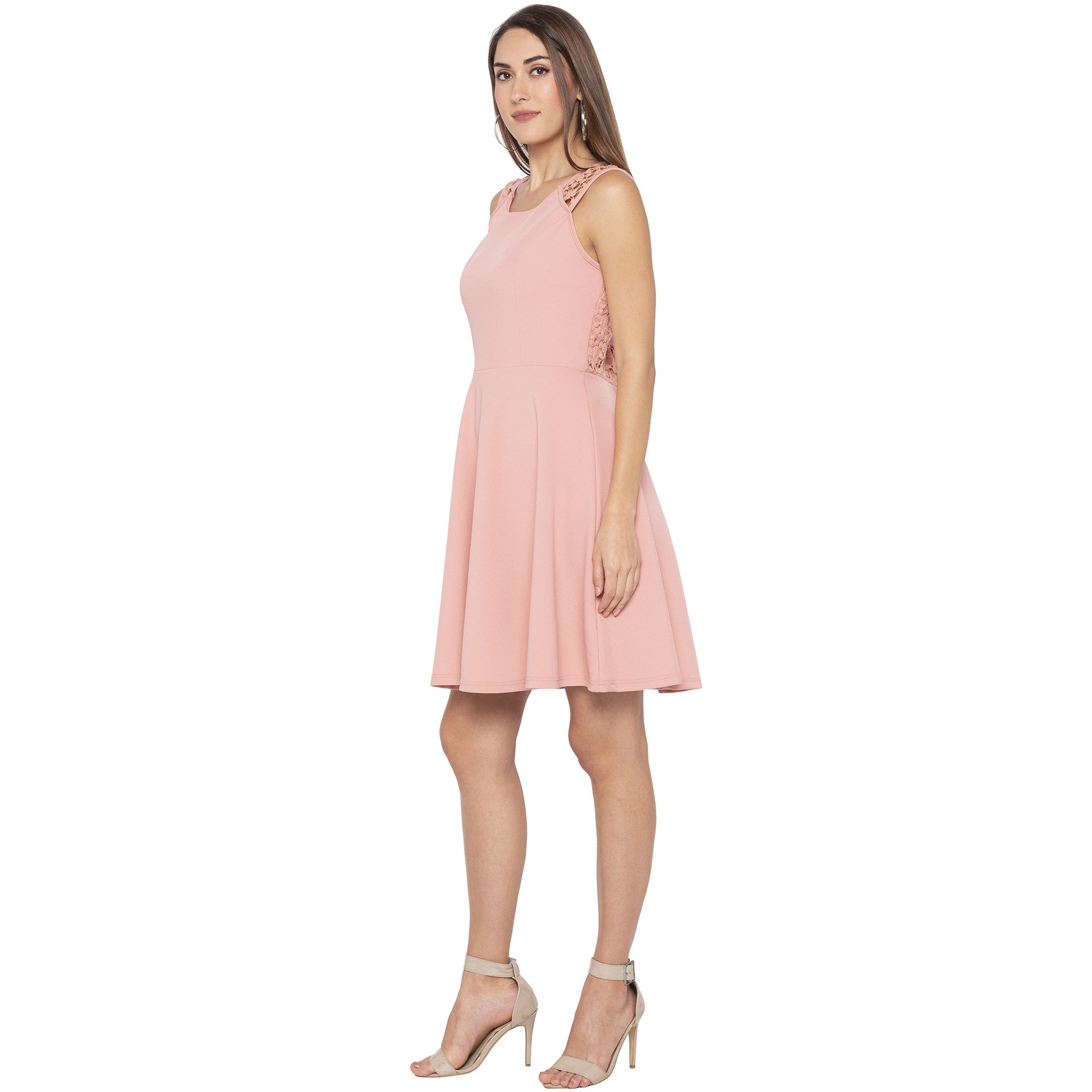 Casual Pink Color Solid Fit and Flare Dress-2