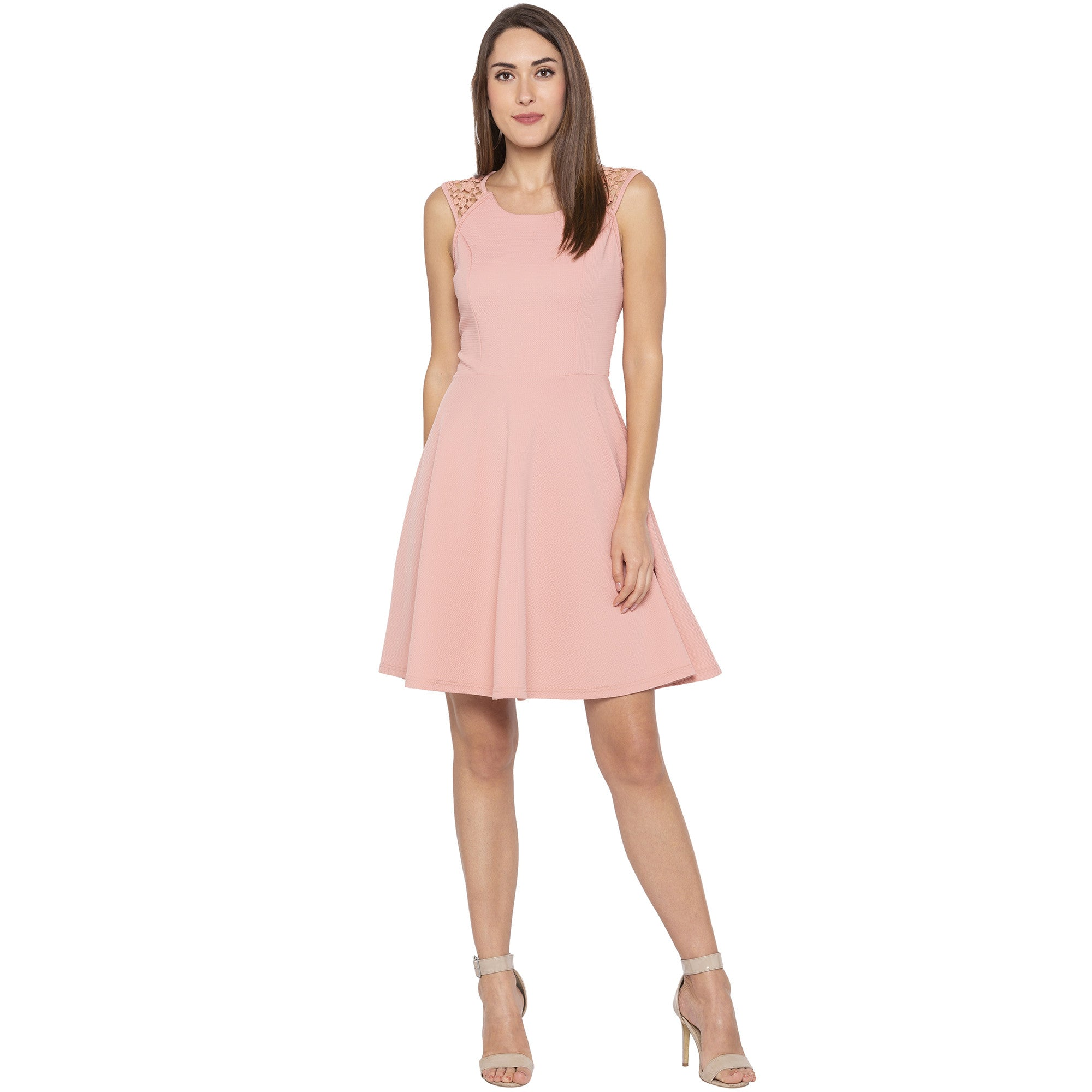 Casual Pink Color Solid Fit and Flare Dress-4