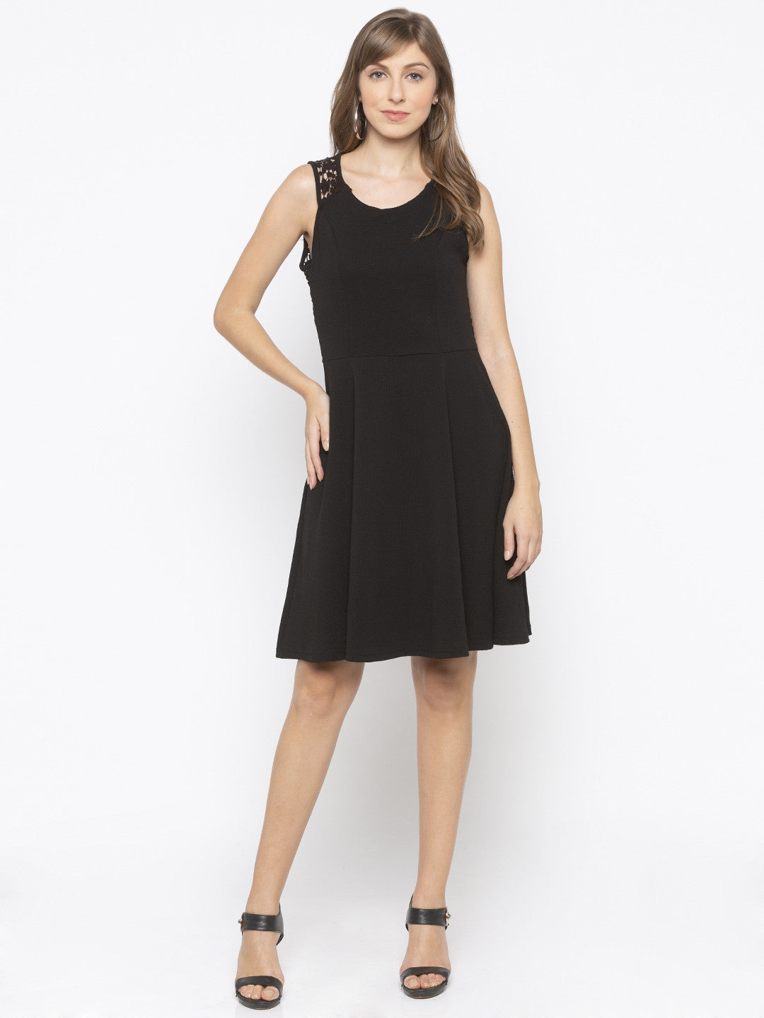 Black Sheath Solid Dresses-4