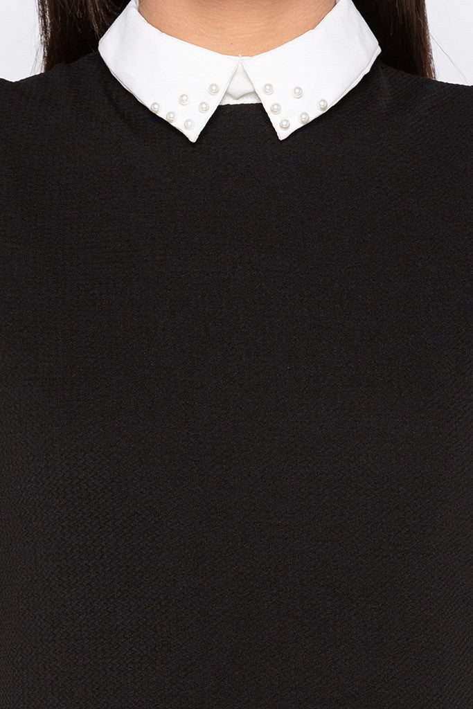 Peter Pan Collar Little Black Dress-5