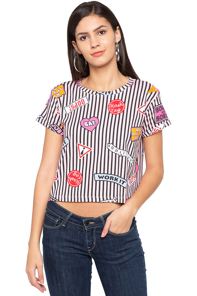 Printed Boxy Fit Tee-1
