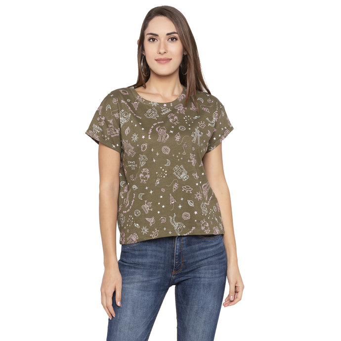 Casual Olive Color Printed Regular Fit Tshirts-1