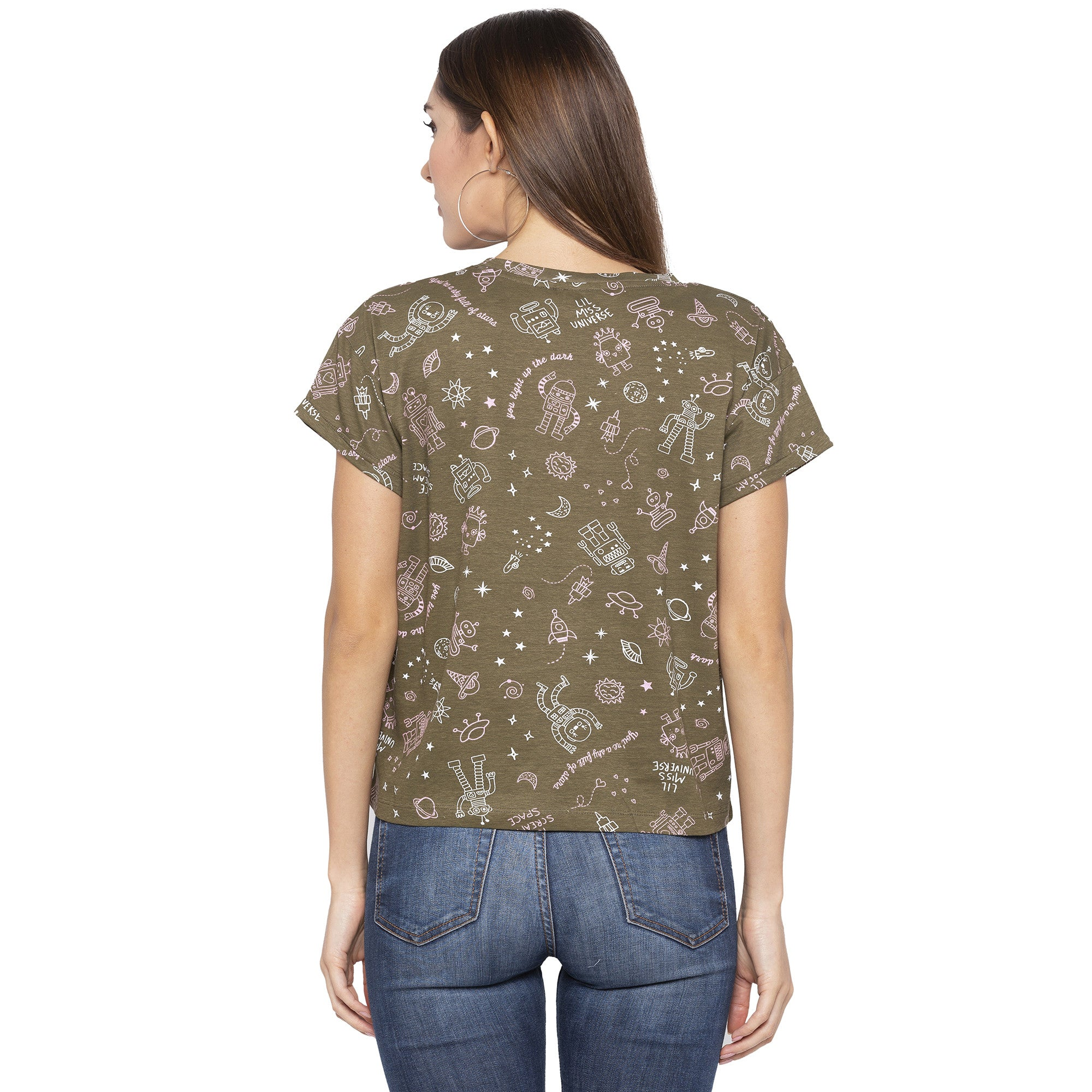 Casual Olive Color Printed Regular Fit Tshirts-3