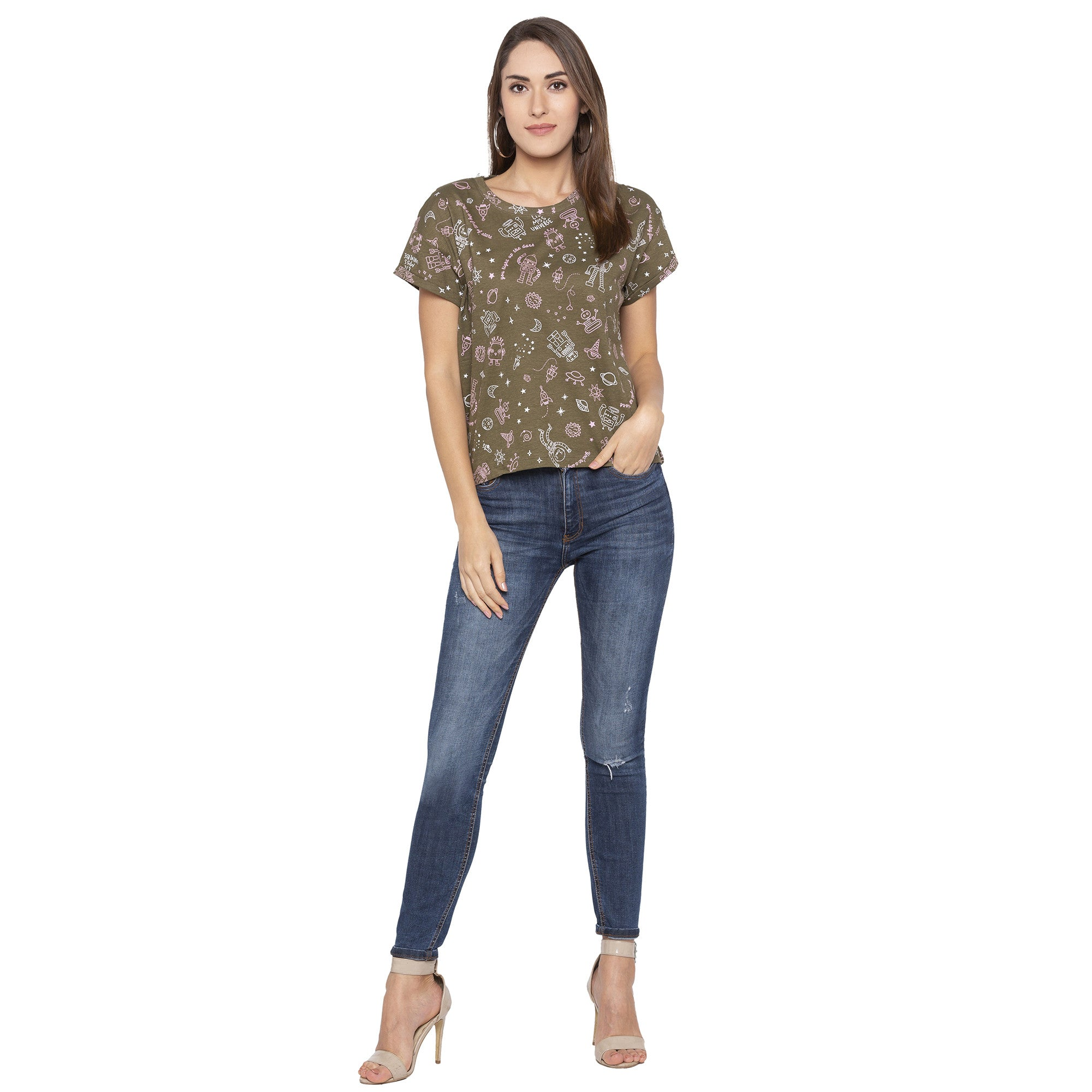 Casual Olive Color Printed Regular Fit Tshirts-4