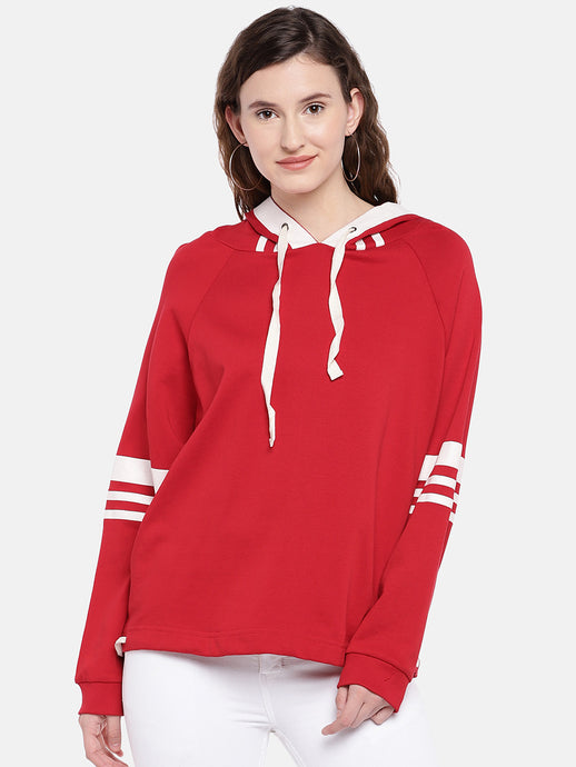 Red Solid Hooded Sweatshirt-1