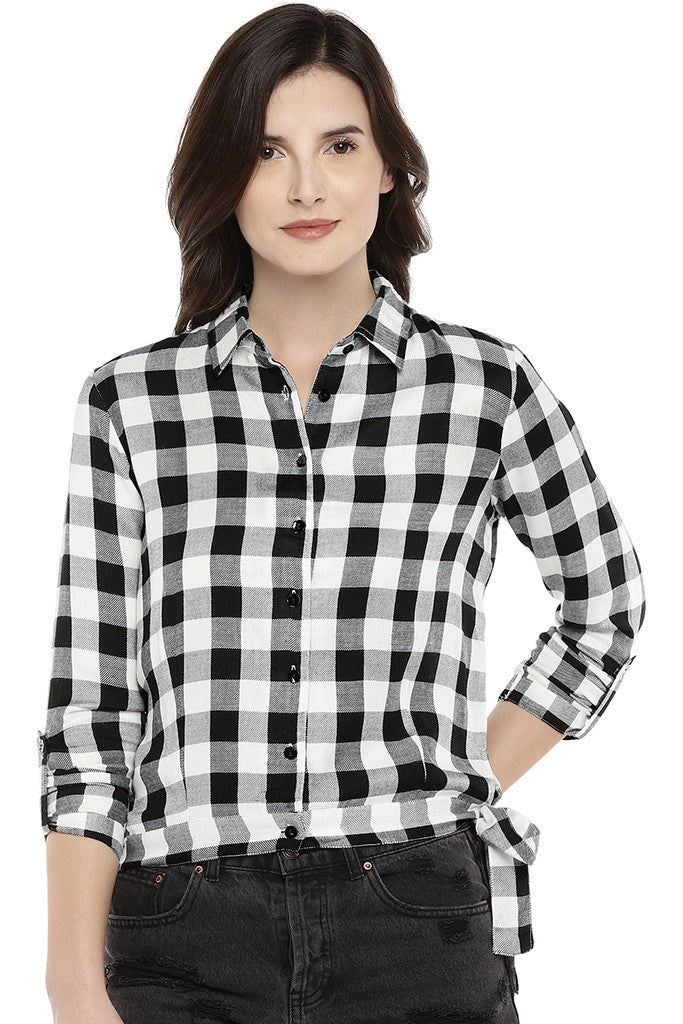 White Regular Fit Checked Casual Shirt-1