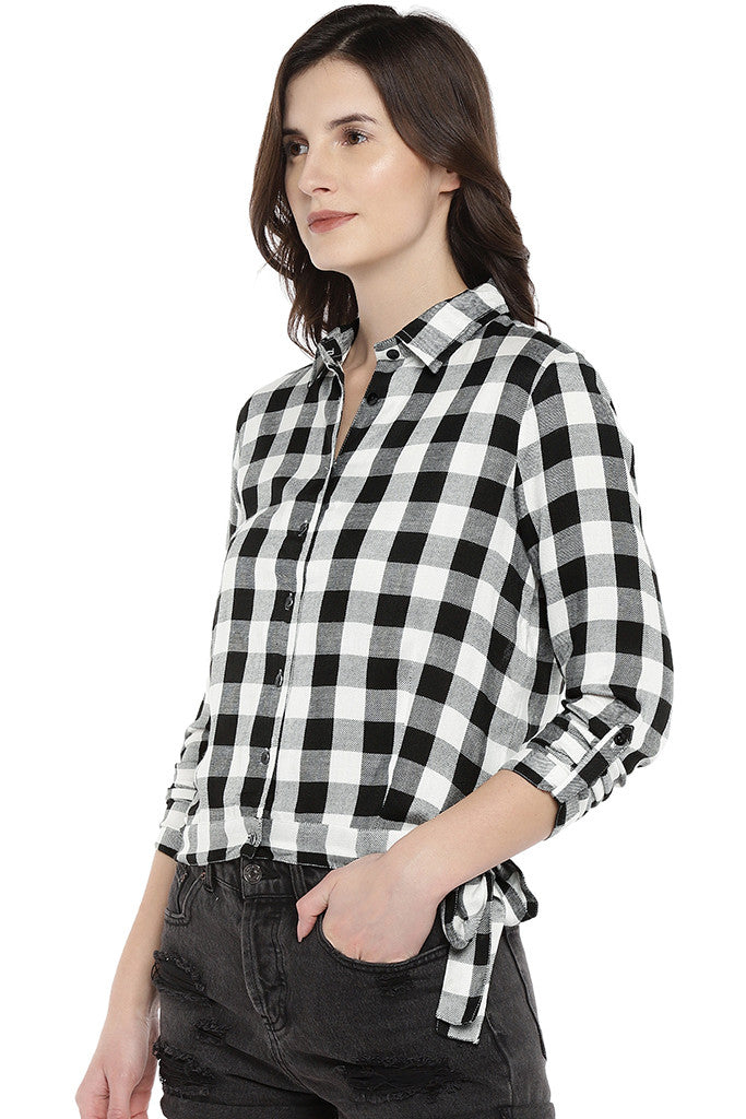 White Regular Fit Checked Casual Shirt-2