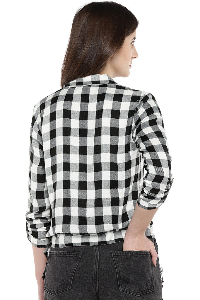 White Regular Fit Checked Casual Shirt-3