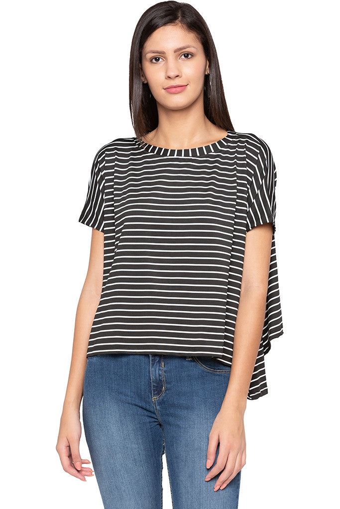 Extended Sides Striped Black White Top-1