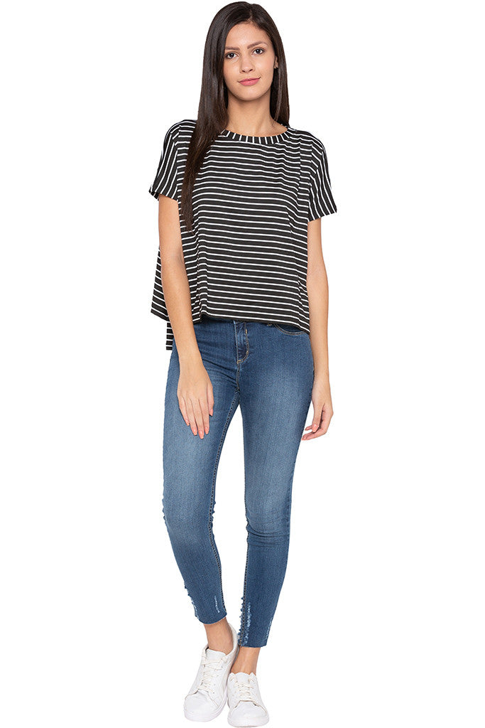 Extended Sides Striped Black White Top-2
