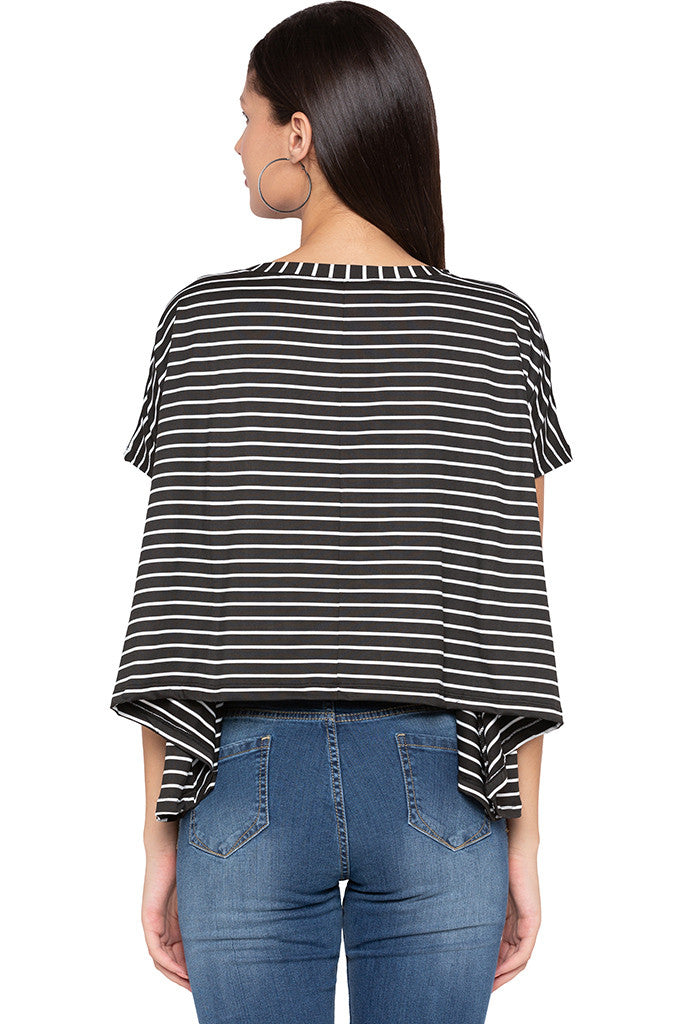 Extended Sides Striped Black White Top-3