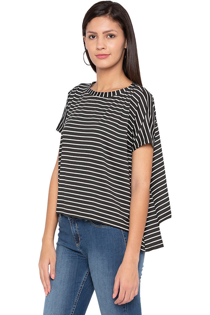 Extended Sides Striped Black White Top-4