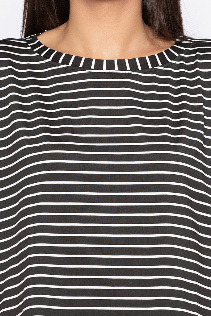Extended Sides Striped Black White Top-5