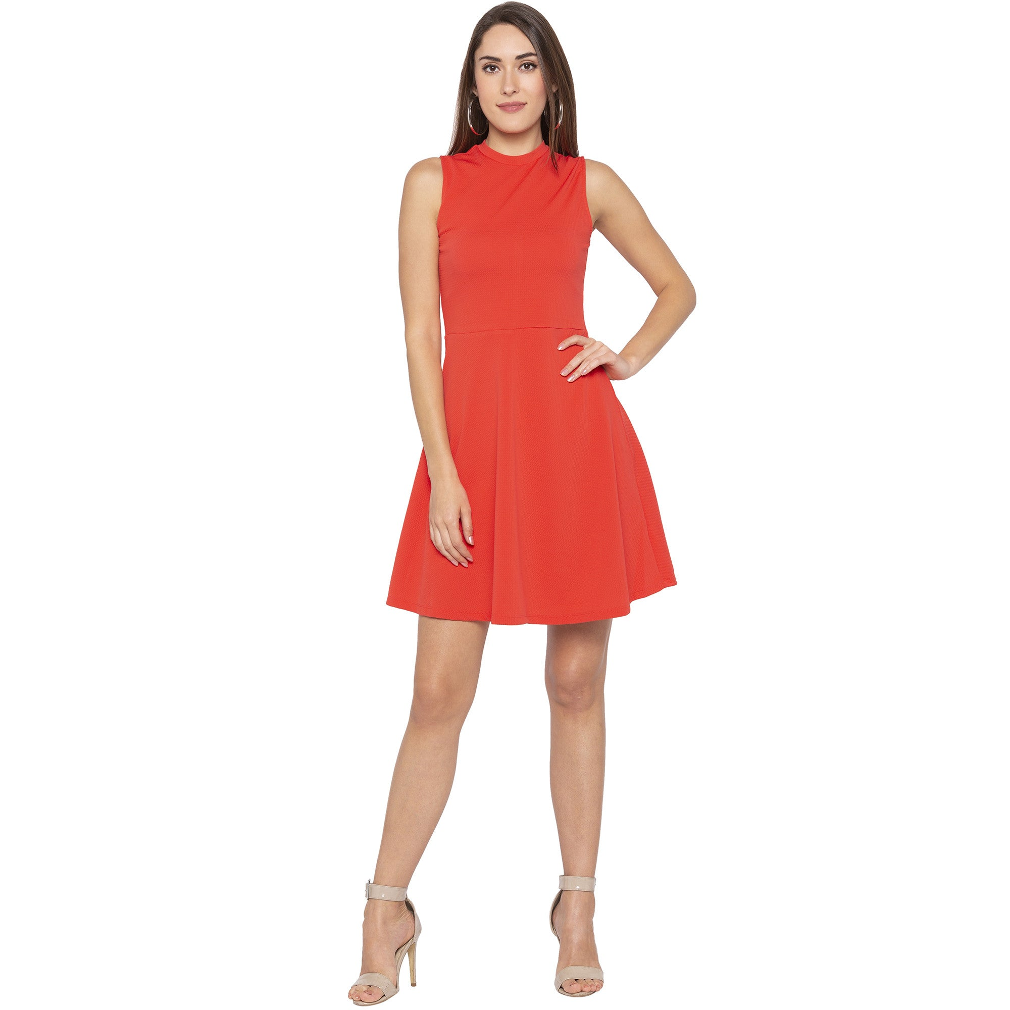 Party Coral Color Solid Fit and Flare Dress-1