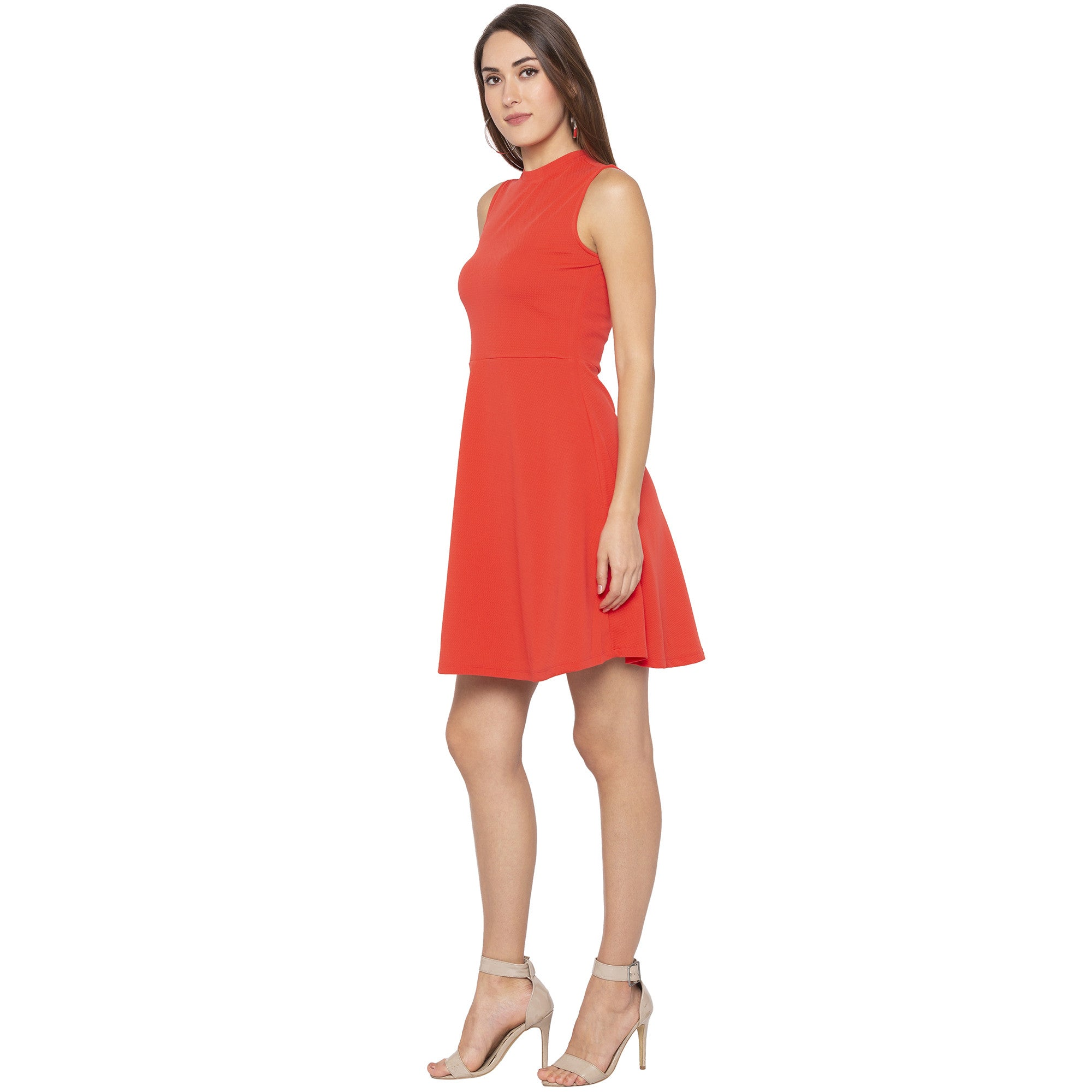 Party Coral Color Solid Fit and Flare Dress-2
