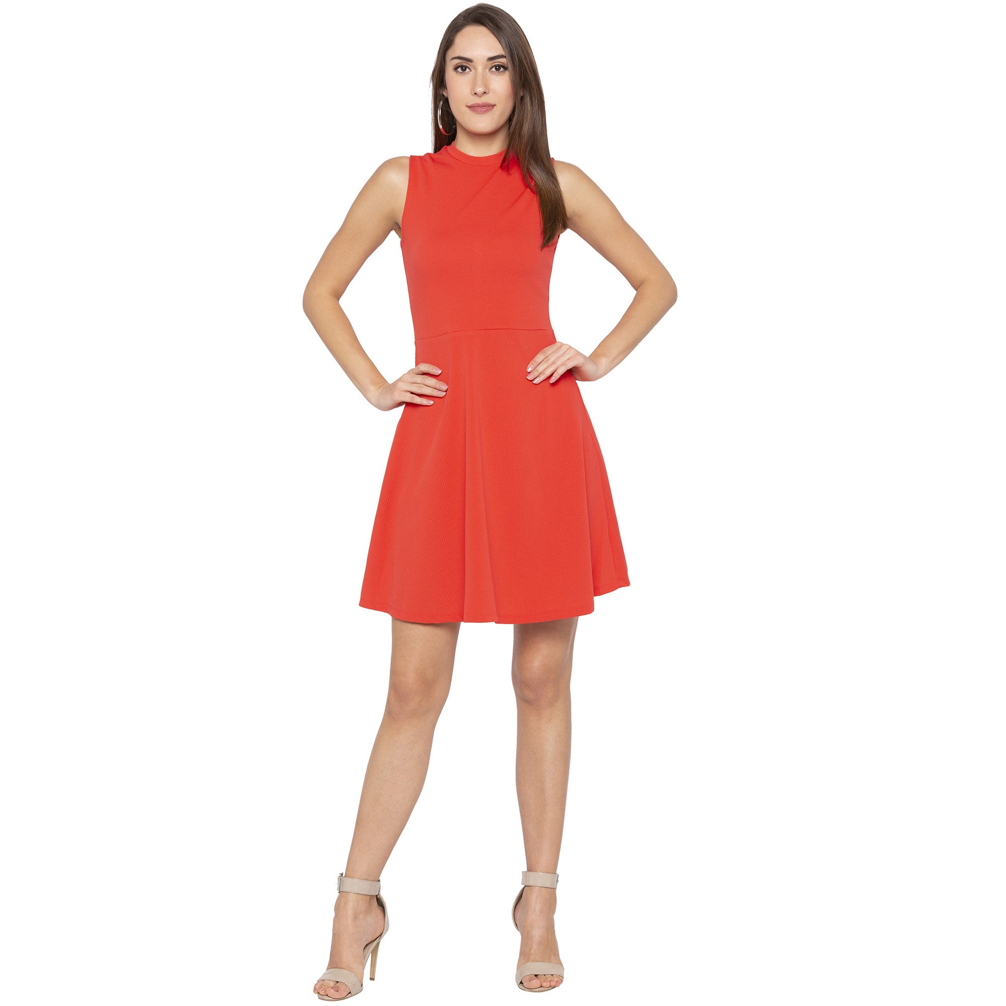 Party Coral Color Solid Fit and Flare Dress-4