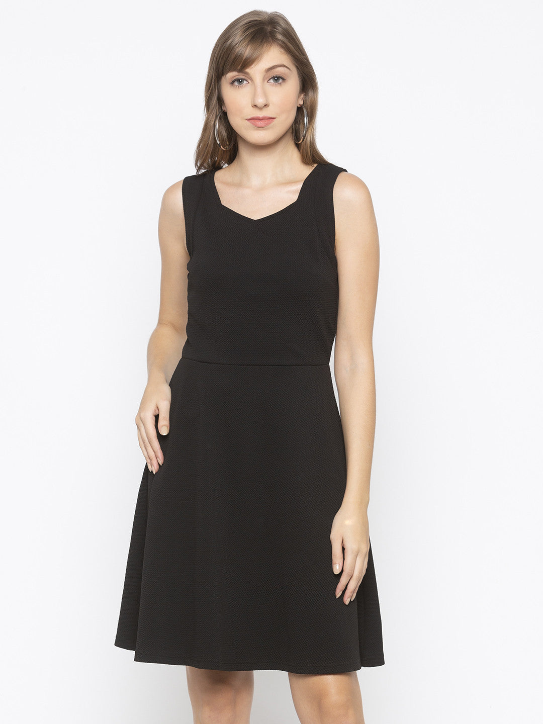 Black Fit and Flare Solid Dresses-1
