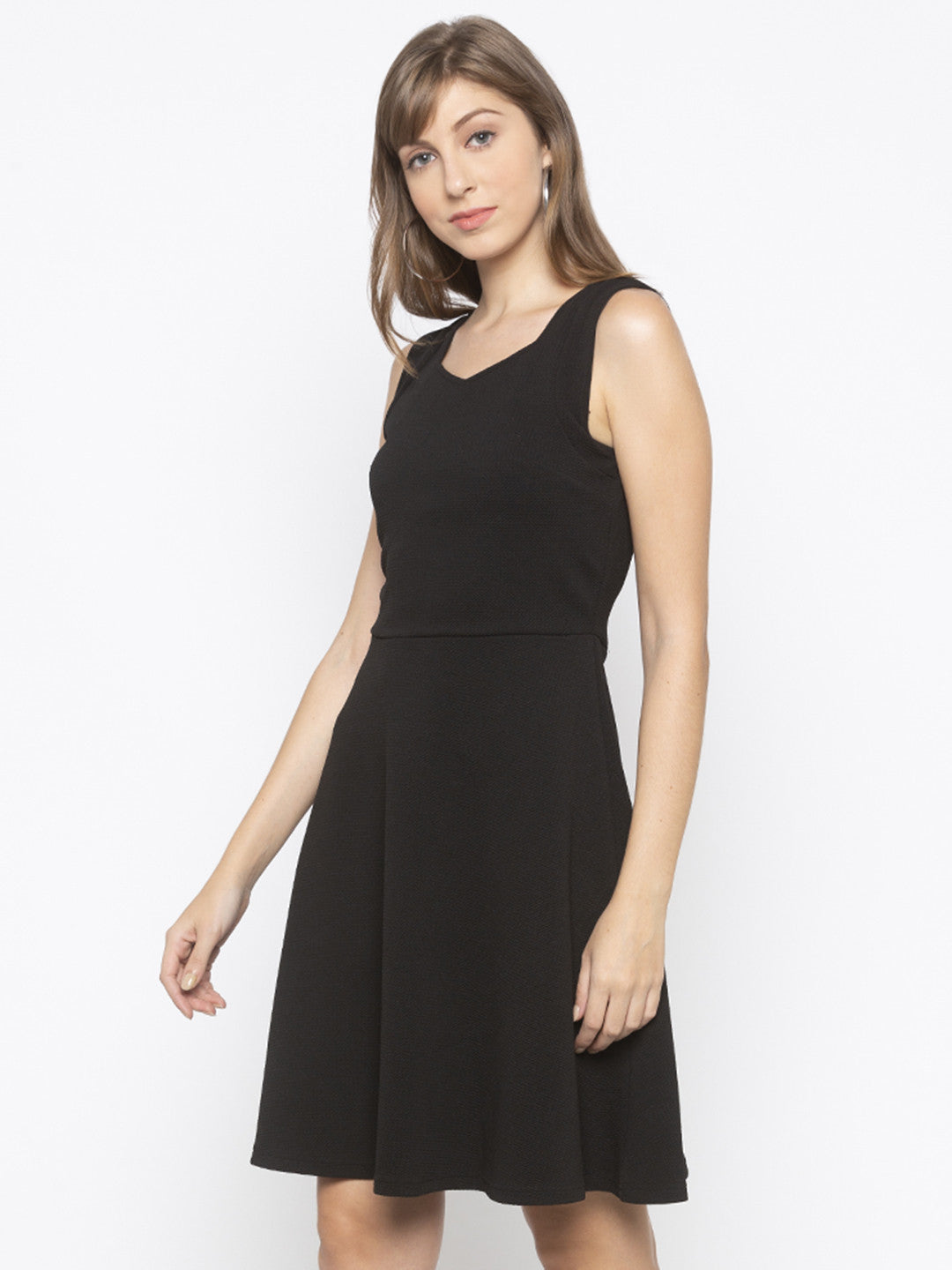 Black Fit and Flare Solid Dresses-2