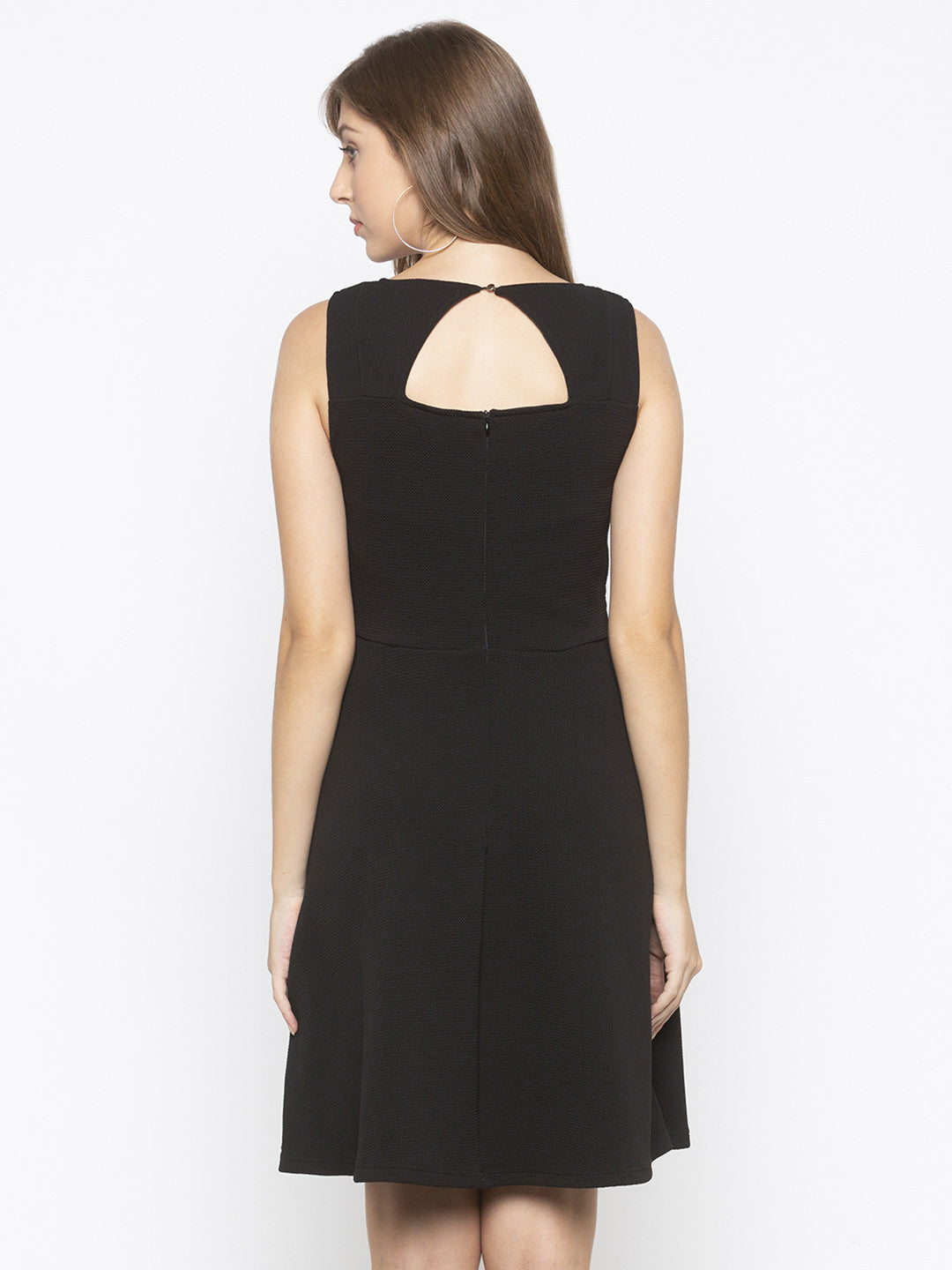 Black Fit and Flare Solid Dresses-3