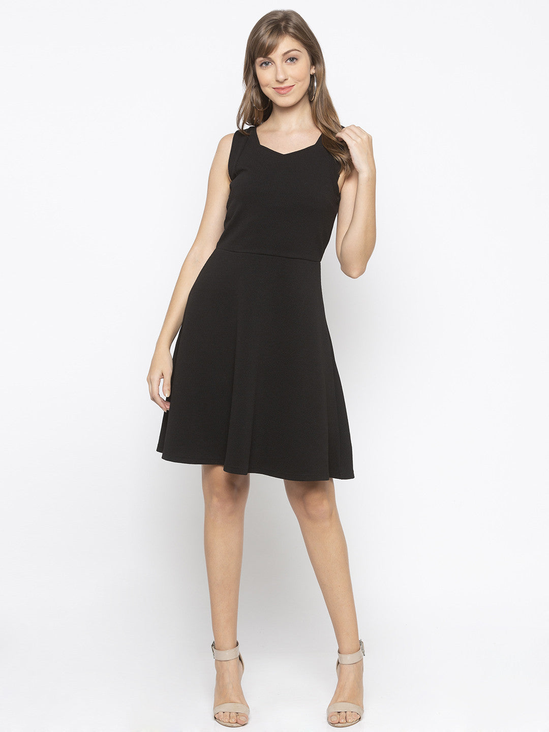 Black Fit and Flare Solid Dresses-4