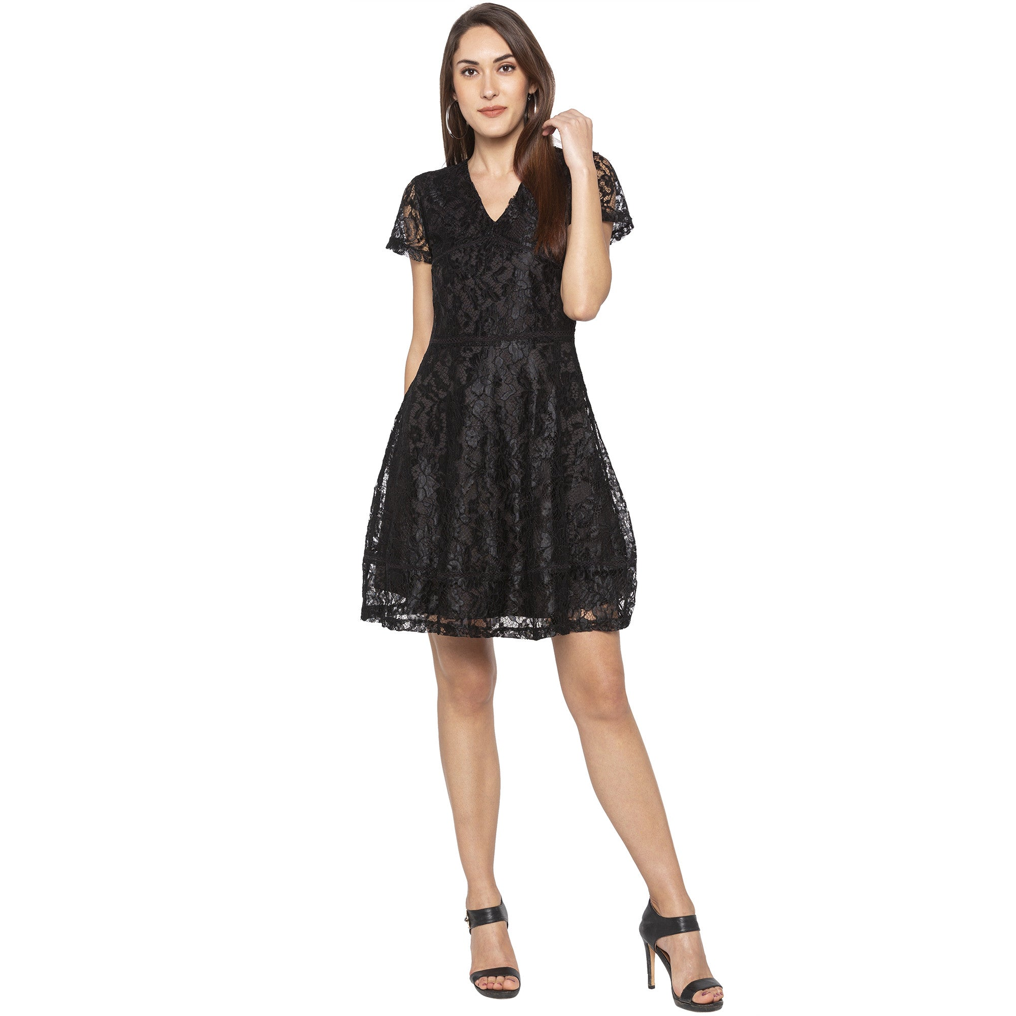 Party Black Color Self Design Fit and Flare Dress-4
